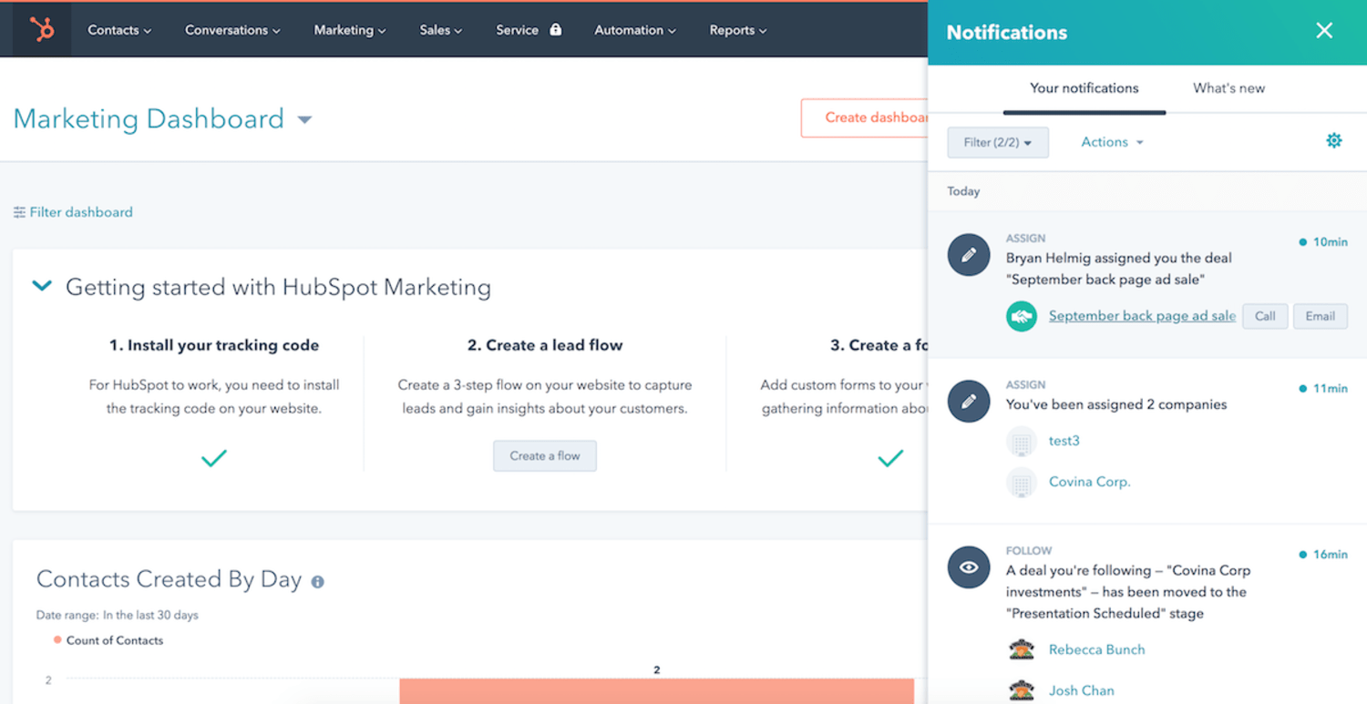 Screenshot showing reporting of leads closed through Go4Clients marketing efforts