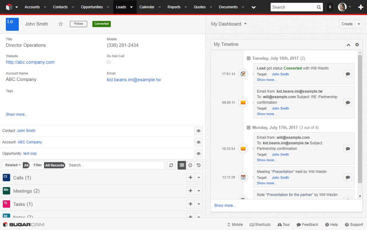 Screenshot showing customer follow-up when integrating SugarCRM with Go4Clients