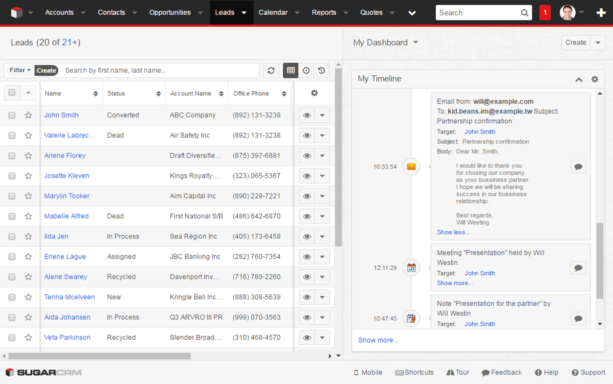 Screenshot showing how you can segment audiences and send targeted email or SMS campaigns