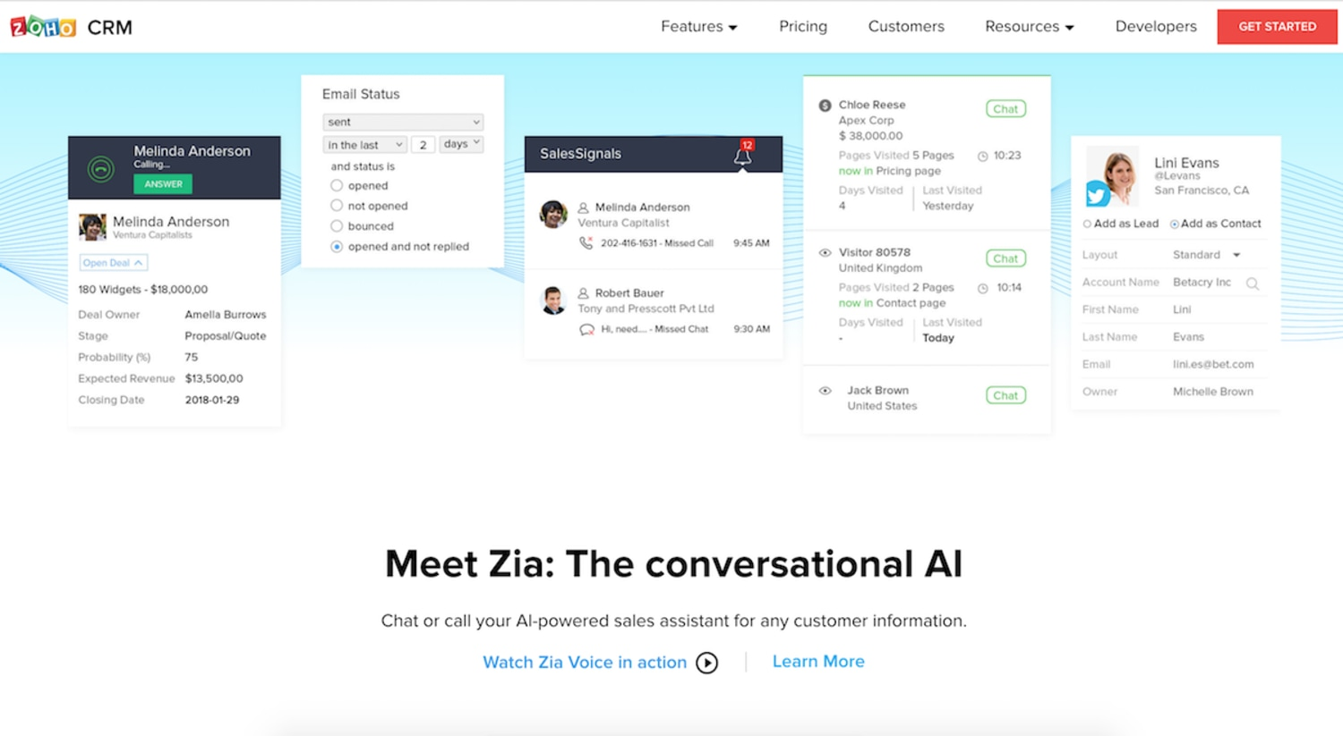 Screenshot showing how ZohoCRM can integrate with Go4Clients